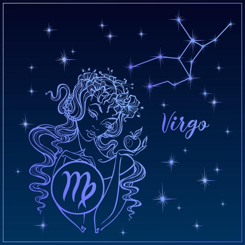 Sterrenbeeld Maagd als een mooi meisje. De constellatie van de Maagd. Nachtelijke hemel. Horoscoop. Astrologie. Vector. vector