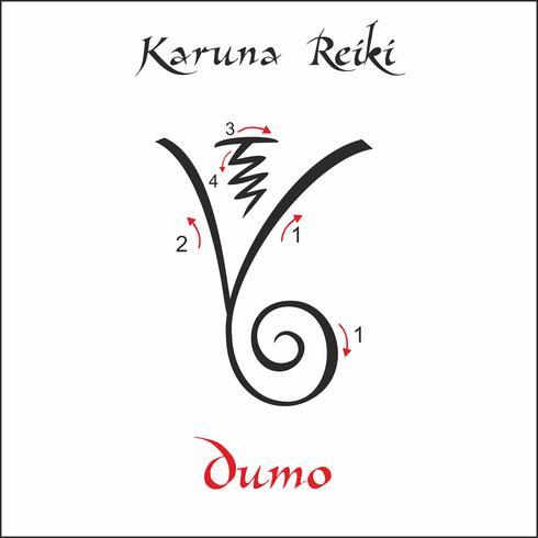 Karuna Reiki. Energie genezing. Alternatief medicijn. Dumo-symbool. Spirituele oefening. Esoteric. Vector