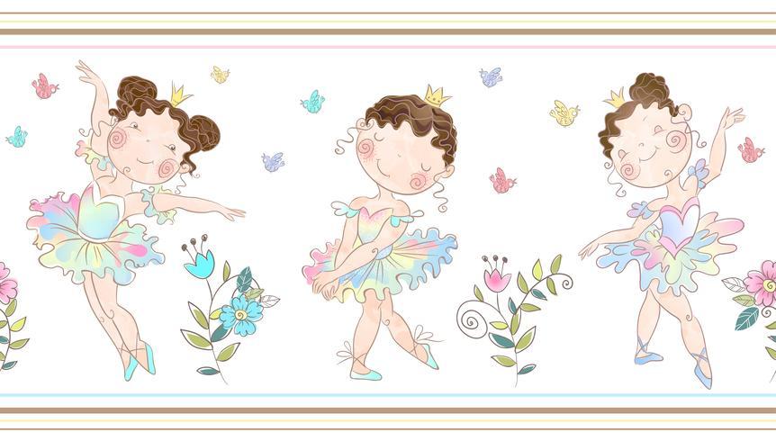 Naadloze grens met schattige ballerina's meisjes. Vector. vector