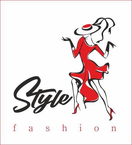 Model. Modieuze stijl. High fashion. Het meisje in de rode jurk. Vector. vector