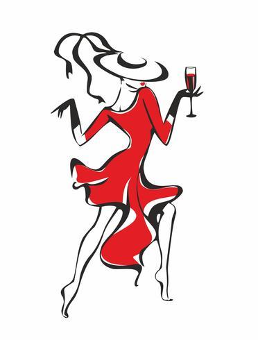 Het meisje in de rode jurk. Een meisje met een glas wijn. Dansen. Hoed. Alcohol drinken. Fun.Vector. vector