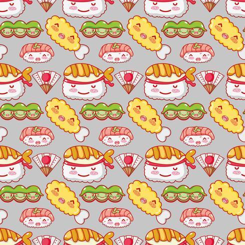 Japanse gastronomie achtergrondkawaii cartoons vector