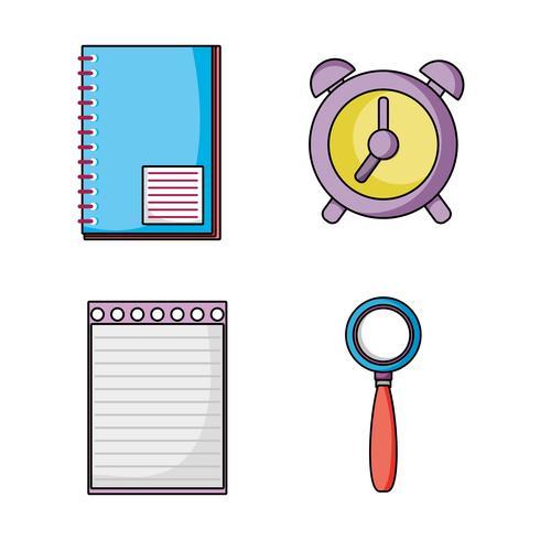 set onderwijs school gebruiksvoorwerpen pictogrammen vector