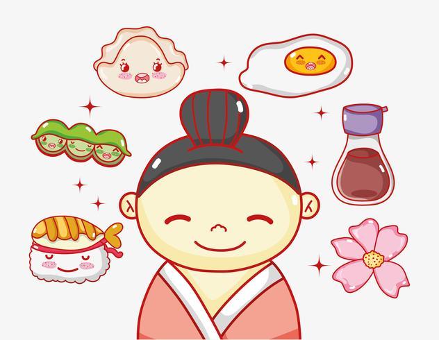 Japans verliefd op eten vector
