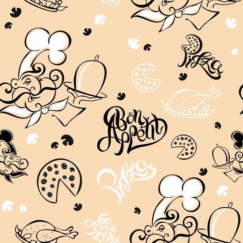 Naadloos patroon. Chef. Keuken thema. Logotype. Koken. Eet smakelijk. Pizza. Stijlvolle belettering. vectorillustratie vector