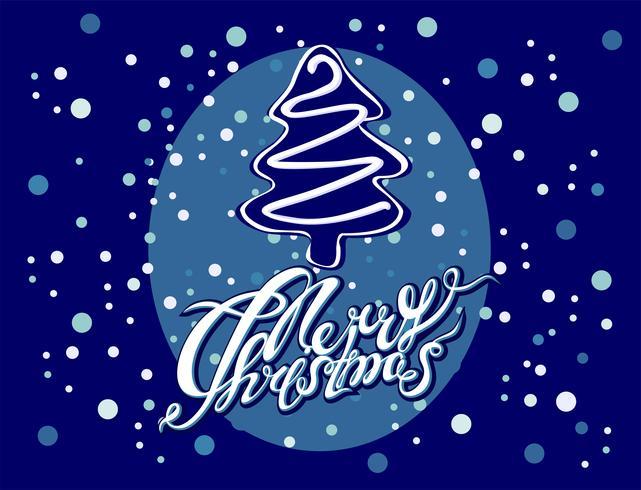 Vrolijk kerstfeest. Kerstboom belettering vector
