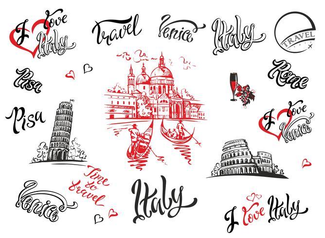 Italië. Venetië, Rome, Pisa. Set elementen voor ontwerp. Kathedraal. Coliseum. toren van Pisa. schetsen. Belettering. Gondels. Druif. Wijn. Vector illustratie.