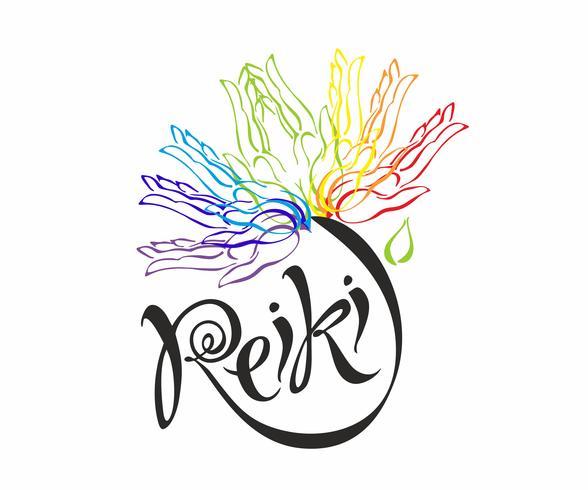 Reiki-energie. Logotype. Genezende energie. Bloem van de regenboog uit de handpalmen van de mens. Alternatief medicijn. Spirituele oefening. Vector. vector