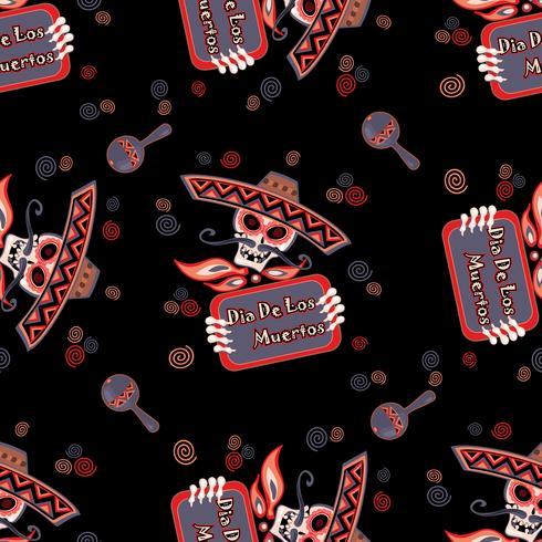Dag van de Doden. Schedel in sombrero. Naadloos patroon. Vector illustratie.