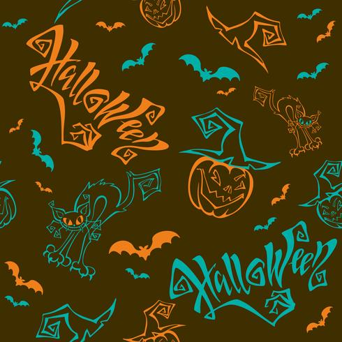 Naadloos patroon. Halloween. Belettering. Grappige cartoon pompoen monster in heks hoed. Knuppel. Cat monster. Bruine achtergrond. vector