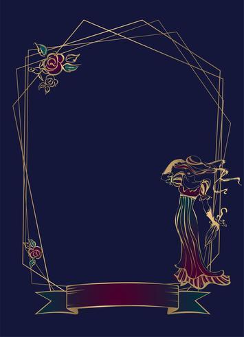 Frame. Vignet. Vintage dame. Geometrisch kader. Donkerblauwe achtergrond. Vector. vector