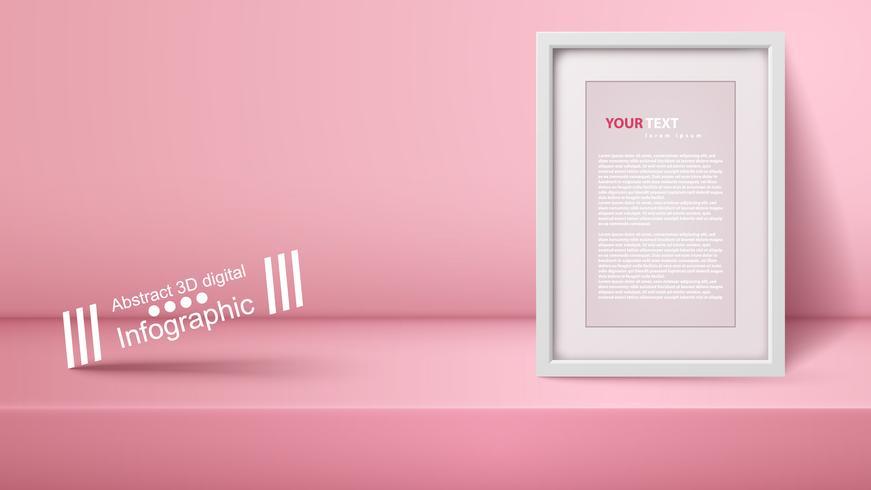 Sjabloon lege roze studio, fotostudio, kamer. vector