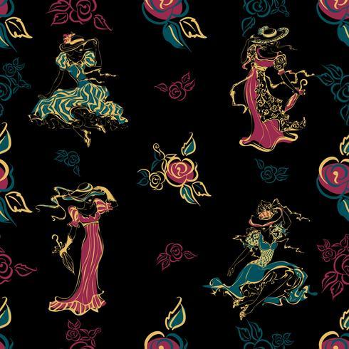 Naadloos patroon. Vintage meiden. Mooie dames in vintage outfits en hoeden. Boeket rozen. bloemen. Vintage-stijl. Ontwerp voor stof en inpakpapier. . Turkoois, goud, zwart. Vector. vector
