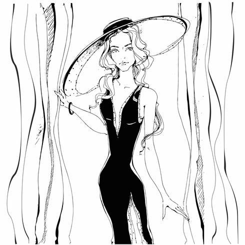 Mode meisje . Schoonheid model in hoed. Graphics. Grijs. Vector illustratie