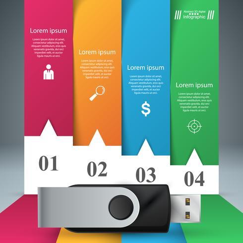USB-pictogram. Vier items papier infographic. vector