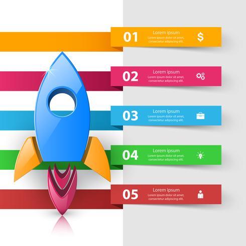 Raket pictogram. Abstracte illustratie Infographic. vector