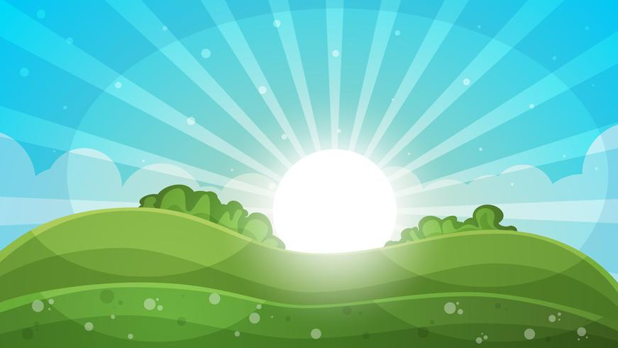 Beeldverhaallandschap - abstracte illustratie. Zon, straal, schittering, heuvel, wolk. vector
