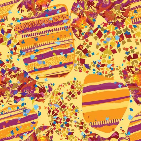 Abstract mozaïek blad naadloze patroon. Lijnen en punten oosterse tegelachtergrond vector