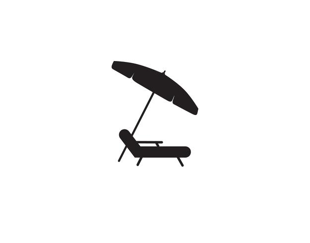 Ligstoel paraplu zomer strand vakantie symboolpictogram. vector