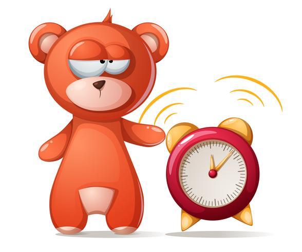 Slapen beer illustratie. Grappige, schattige wekker. vector