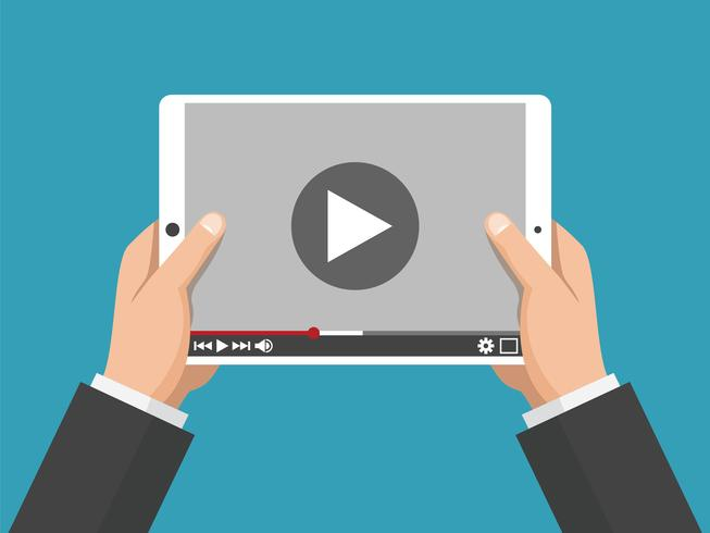 Handen die holdings witte tabletcomputer met videospeler op het scherm houden vector