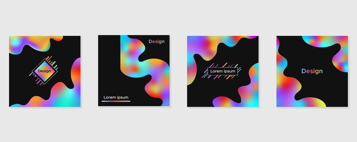 Abstracte vloeibare kleurrijke vormen, moderne geplaatste brochurehoezen vector