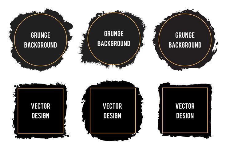Zwarte inkt borstel vlekken frames, penseelstreken, banners, randen vector