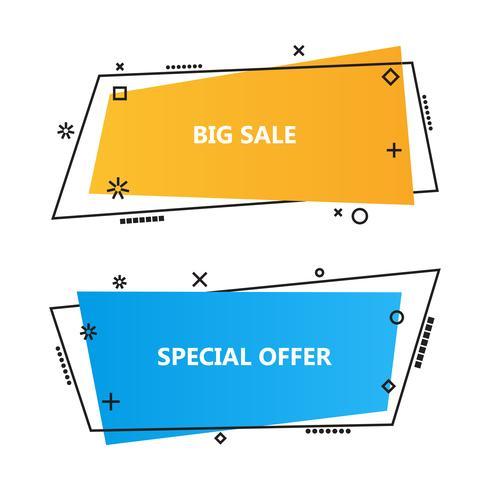 Trendy promotie zakelijke banners, tekstballonnen vector