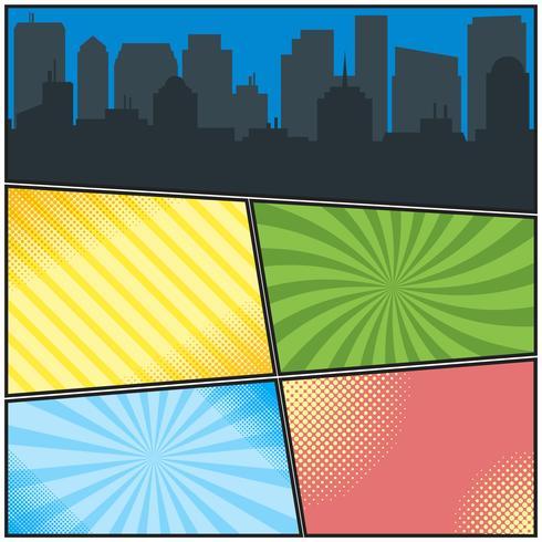 Stripboek paginasjabloon met verschillende radiale achtergronden en stadssilhouet vector