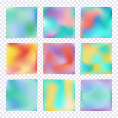 Set van Hologram kleurrijke achtergronden vector