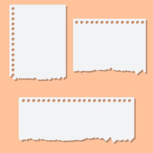 Leeg wit gescheurd herinneringsdocument vector