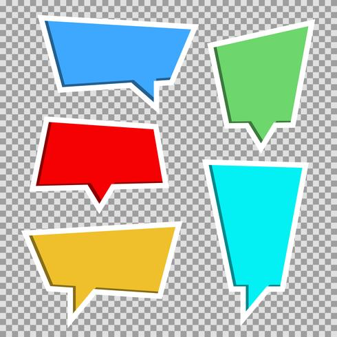 Vectorinzameling van kleurendocument verwijderde toespraakbellen, reeks vector