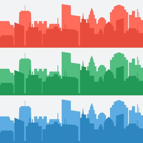 Vectorreeks banners met gekleurde stadssilhouetten vector