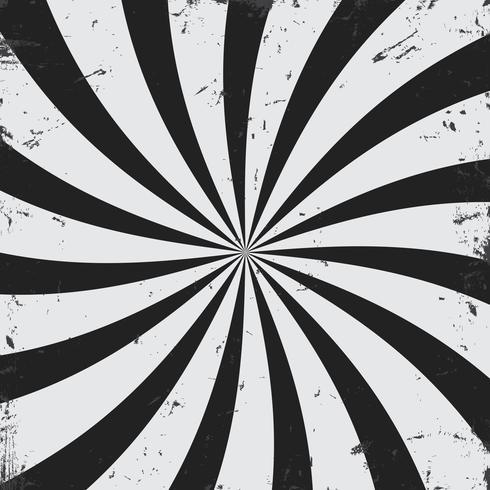 Radiale stralen grunge zwart-witte achtergrond vector