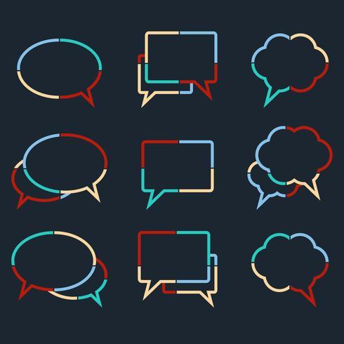 Tekstballonnen lineaire iconen van kleurrijke stippellijnen vector