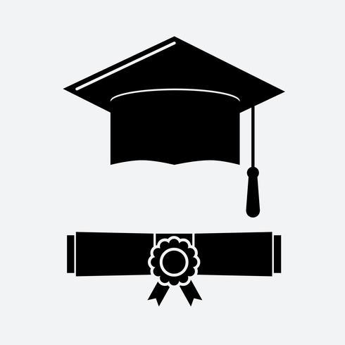 Zwarte afstuderen cap en afstuderen certificaat web pictogram vector