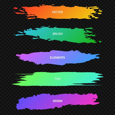 Banners, headers, verzameling van kleurrijke verf vlekken op een zwart, neon marker vector