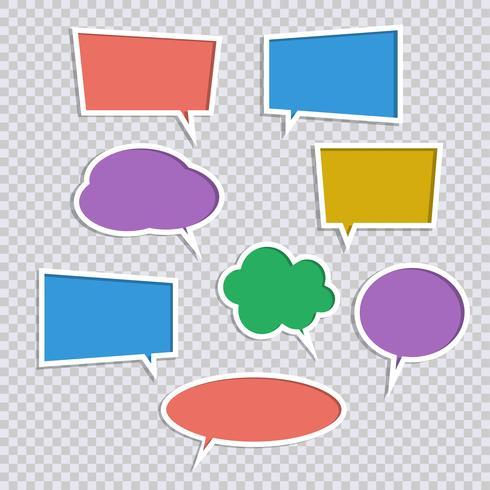Vectorreeks van de toespraakbelpictogrammen van de documentkleur met schaduwen vector