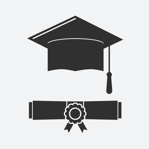 Silhouet afstuderen hoed en opgerolde diploma vector