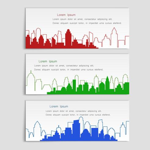 Lineaire vlakke stijl, set van vector banners met stad silhouetten