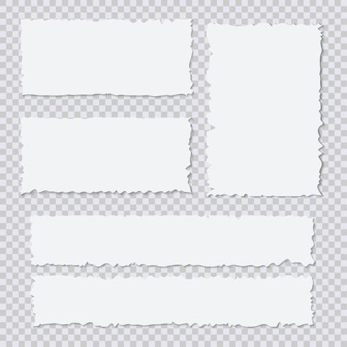 Lege witte stukjes gescheurd papier op transparante achtergrond vector
