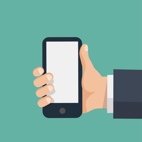 Hand houdt smartphone met leeg scherm vector