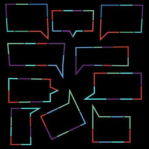 Set van spraak bubbels lineaire iconen van kleurrijke stippellijnen vector