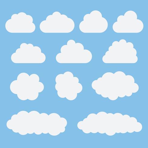 Inzameling van witte wolkenpictogrammen, tekens, de vlakke stijl van weersymbolen vector