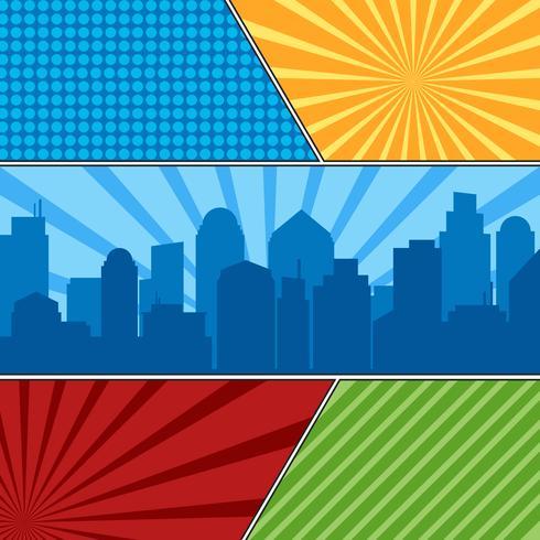 Stripboek paginasjabloon met radiale achtergronden en stadssilhouet vector