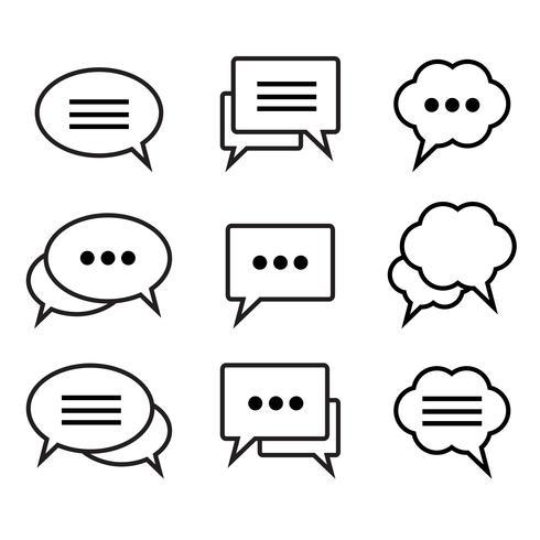 Set van tekstballonnen lineaire pictogrammen vector