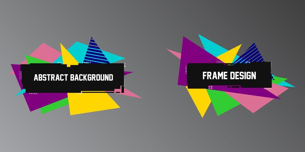 Abstracte glitch achtergronden, twee geometrische banners, frames met heldere driehoeksvormen vector