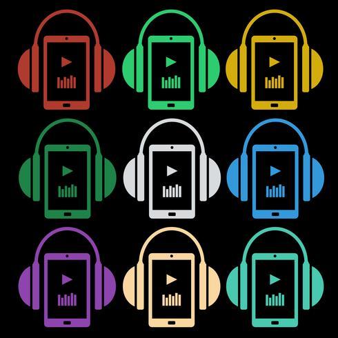Set van muziek iconen - koptelefoon met speler vector