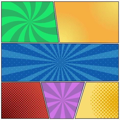 Stripboek paginasjabloon met stralen in pop-artstijl, radiale halftone vector