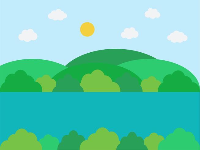 Natuurlijk landschap in de vlakke, eenvoudige stijl vector
